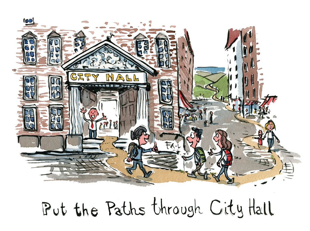Put the path through city hall illustration illustration by Frits Ahlefeldt