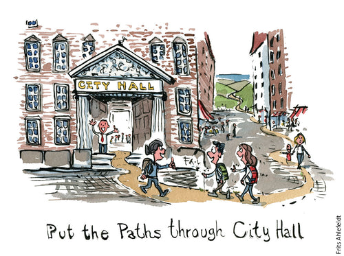 Drawing of a city hall with a trail with hikers on it. going right through it. Illustration by Frits Ahlefeldt