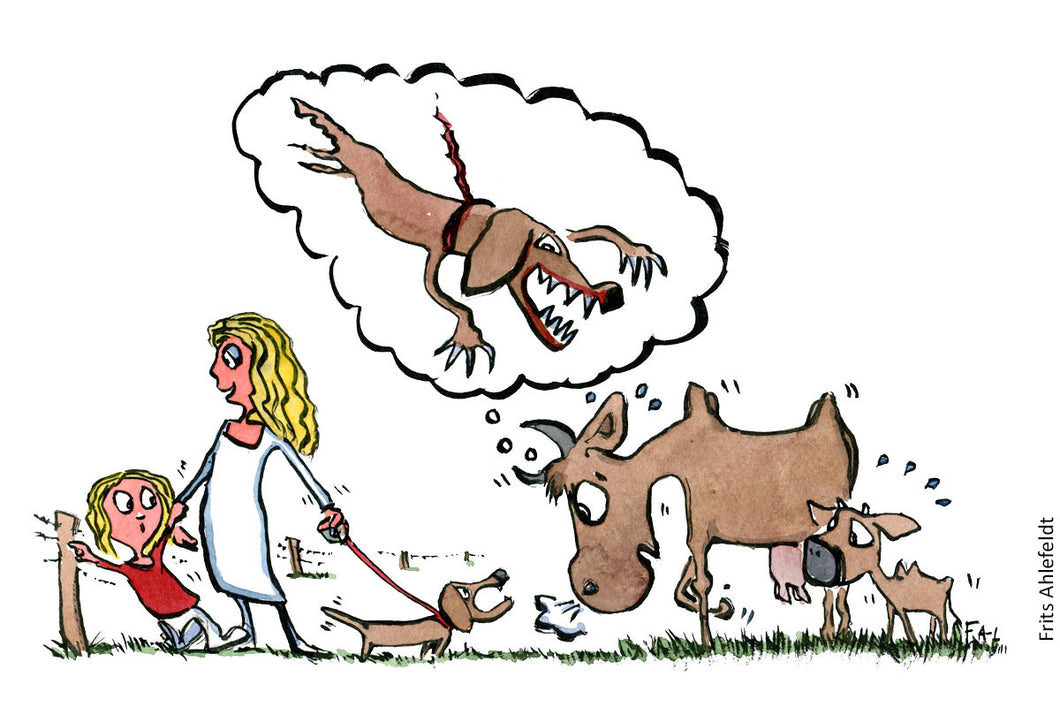 How cows view dogs. Illustration by Frits Ahlefeldt