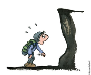 Drawing of a hiker facing a wall and looking overwhelmed. Illustration by Frits Ahlefeldt