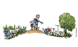 Stay on the path to help biodiversity - hiker illustration by Frits Ahlefeldt