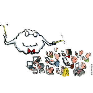 Drawing of a computer cloud conductor, directing people with smartphones and computers. Technology illustration by Frits Ahlefeldt