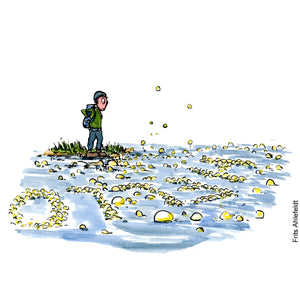"Drawing of a hiker standing at the brink of the water, where bubbles raise to the surface, forming the word ""Hello"" Hiking illustration by Frits Ahlefeldt"