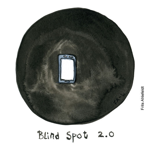 Drawing of a digital blindspot 2.0 surrounded by a black circle. Technology illustration by Frits Ahlefeldt