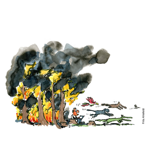Drawing of a man sitting in front of a burning forest. Looking at his computer while the animals flee all around him. Environment illustration by Frits Ahlefeldt