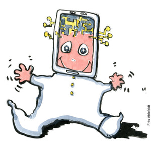 Drawing of a baby with a screen on its head, looking perplexed. Technology illustration by Frits Ahlefeldt