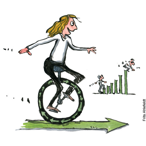 Drawing of a person on a circular economy bike moving forward, while a classic economy guy in the background falls of his growth diagram. Environment illustration by Frits Ahlefeldt