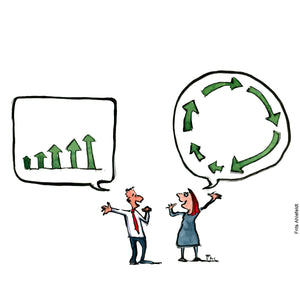 Drawing of a man talking in a classic economy growth diagram and a woman talking into a circular economy diagram. Environment illustration by Frits Ahlefeldt