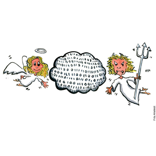 Drawing of a digital cloud with an angel on one side and a devil on the other. Technology illustration by Frits Ahlefeldt