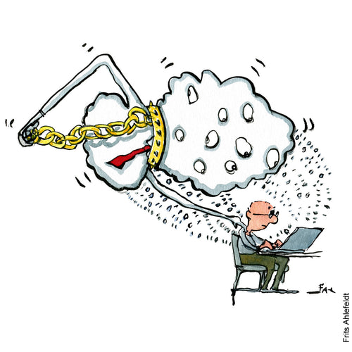 Drawing of a cloud with a golden chain watching a man on a computer. while it holds itself back. Technology illustration by Frits Ahlefeldt