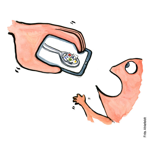 Drawing of a hand with a smartphone feeding a baby apps. Technology illustration by Frits Ahlefeldt