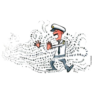 Drawing of a man in uniform in a flow of data bits putting his hands out to stop it. Technology illustration by Frits Ahlefeldt