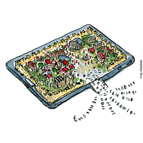 Drawing of a city surrounded by a digital defense wall. Technology illustration by Frits Ahlefeldt