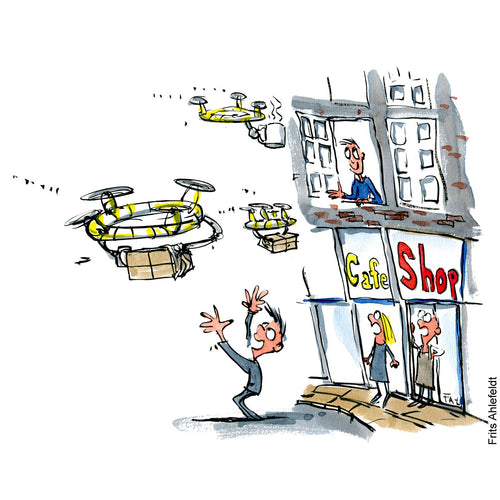 Drawing of drones delivery to locals, building with empty shops and cafe. Technology illustration by Frits Ahlefeldt