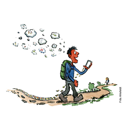 Drawing of a hiker making both a physical, a digital and thought trail while hiking. Technology illustration by Frits Ahlefeldt