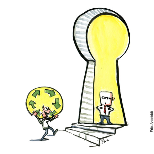 Drawing of a man with an sustainable idea who stands in front of a keyhole where a square man blocks his way. Environment illustration by Frits Ahlefeldt