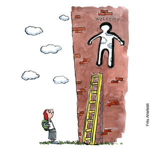 Drawing of a woman hiker with backpack looking at a ladder leading up to a whole in a wall. The hole is shaped like a (male) person. Illustration by Frits Ahlefeldt