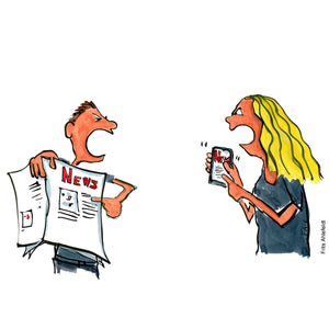Drawing of a man holding a newspaper discussing with a woman holding a phone with news on it. Technology illustration by Frits Ahlefeldt