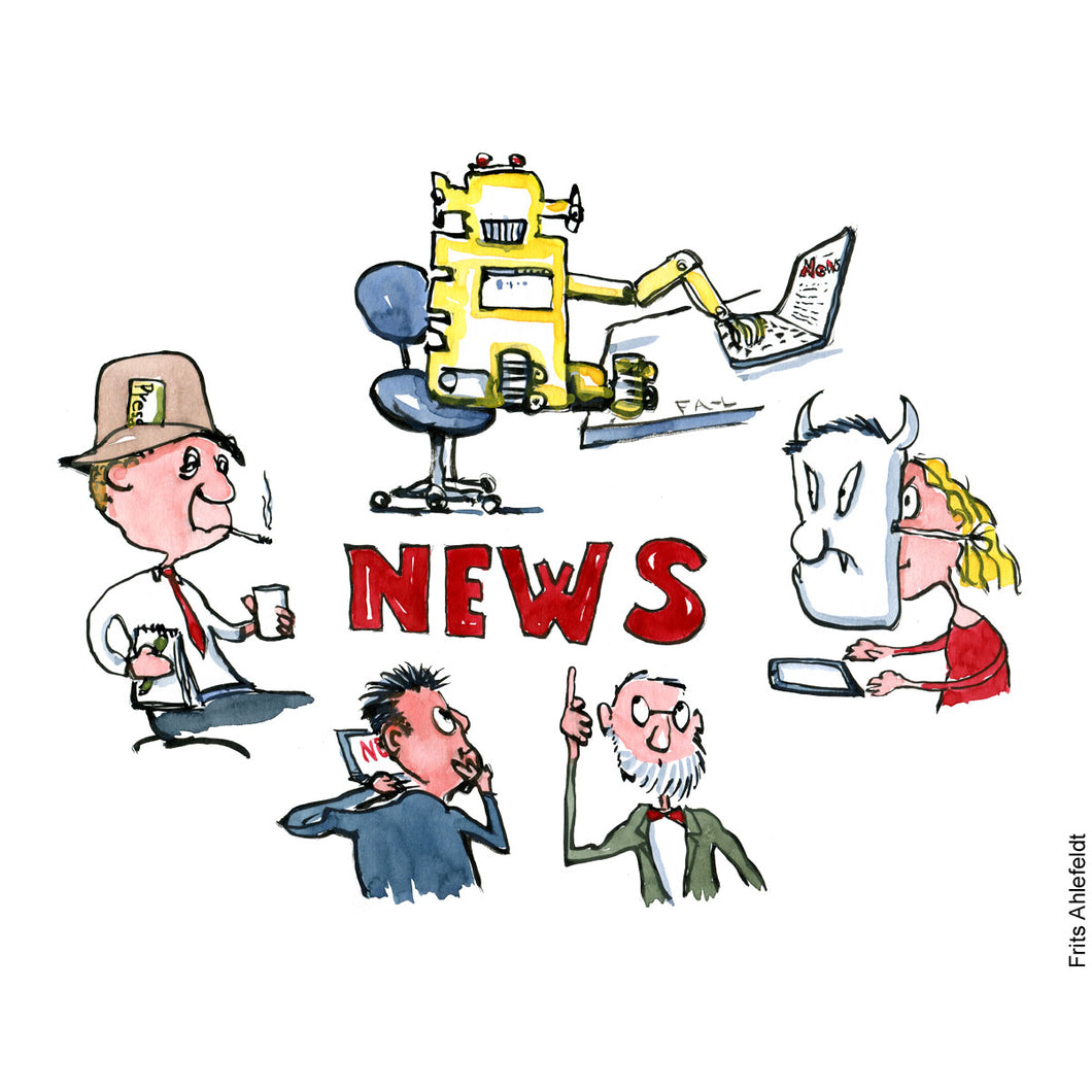 Drawing of the word NEWS between a journalist, a computer-robot, an expert, a businessman, and a troll.Technology illustration by Frits Ahlefeldt