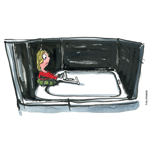 Drawing of a girl with a backpack sitting isolated on a phone. looking sad. Technology illustration by Frits Ahlefeldt