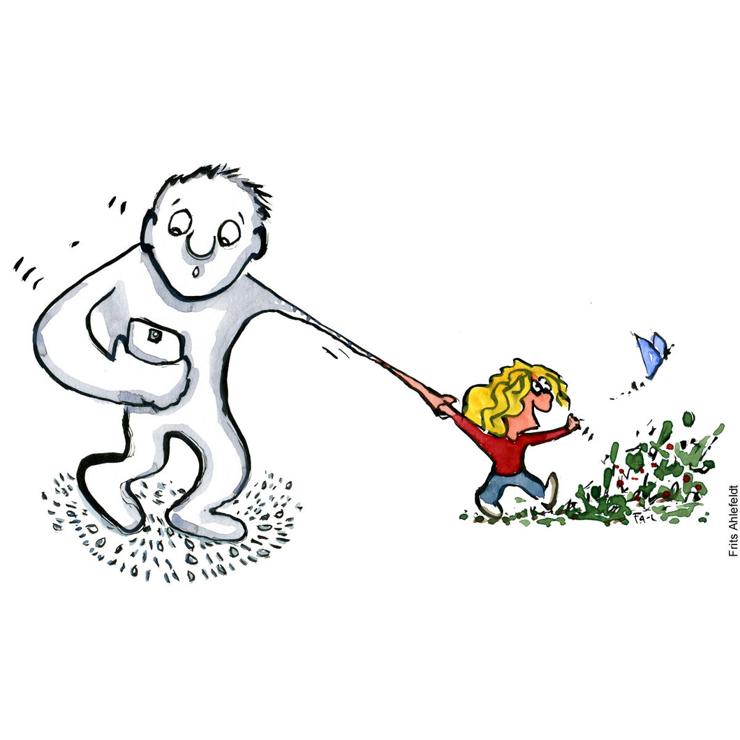 Drawing of a man holding his smartphone walking with a kid in nature. Technology illustration by Frits Ahlefeldt