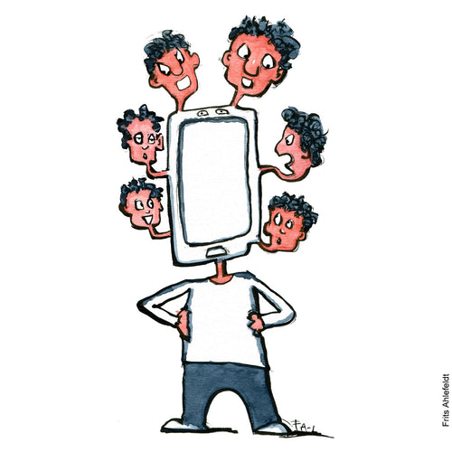 Drawing of a a man with a phone as head with many heads sticking out. Technology illustration by Frits Ahlefeldt