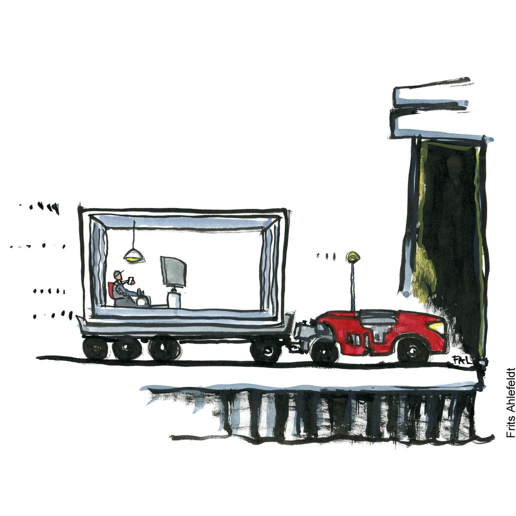 Drawing of a robot shipping a container with a worker sitting in front of a tv screen with a phone in his hand. Technology illustration by Frits Ahlefeldt