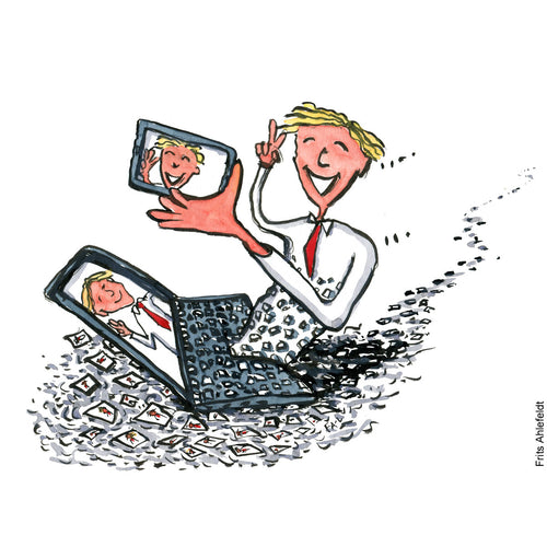 Drawing of a man taking selfies while half floating on a digital stream. Technology illustration by Frits Ahlefeldt