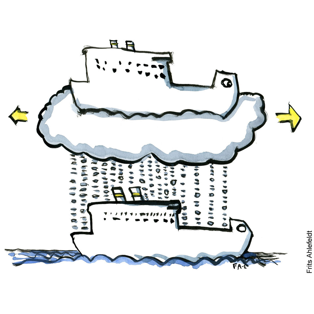 Drawing of a ship with a digital twin in the clouds. Illustration by Frits Ahlefeldt
