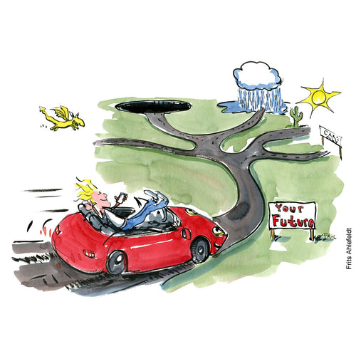 Drawing of a man with phone, in red sportscar. Leaving the wheel to technology. Technology illustration by Frits Ahlefeldt