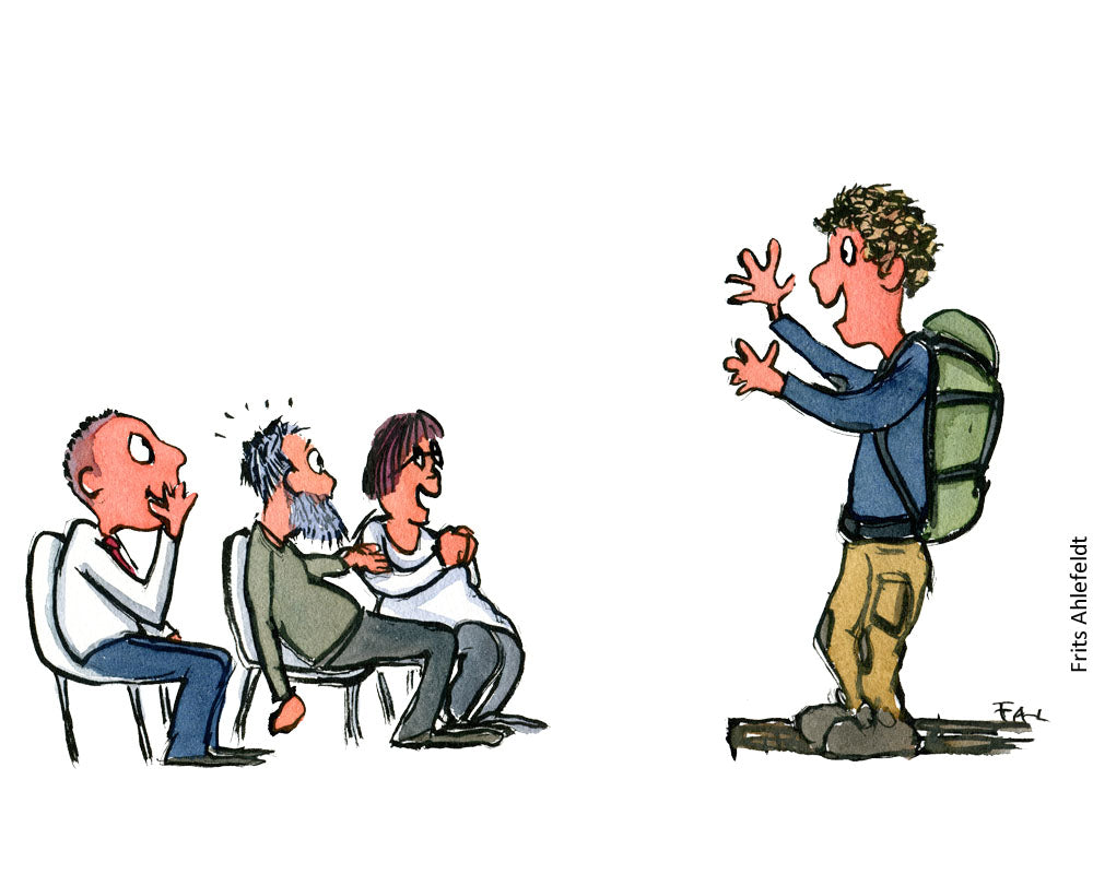 Drawing of a hiker making a presentation to an audience about hiking. Illustration by Frits Ahlefeldt