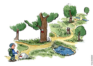 Drawing of a hiker finding his way from trail mark to trail mark. Illustration by Frits Ahlefeldt