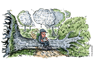 Drawing of a hiker sitting on a fallen tree in a forest wondering if it made a sound. Illustration by Frits Ahlefeldt
