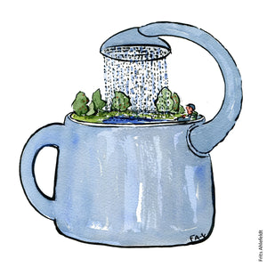 Drawing of a self watering can. Illustration by Frits Ahlefeldt