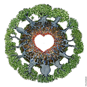 Drawing of trees in a circle with roots making up the figure of a heart. Illustration by Frits Ahlefeldt