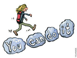 "Drawing of a hiker walking on clouds with the words ""we can do it"". Illustration by Frits Ahlefeldt"