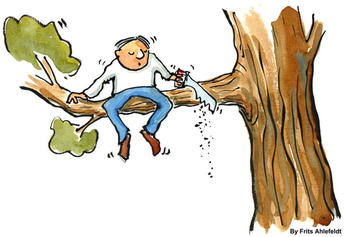 Download Cutting the branch he is sitting on illustration