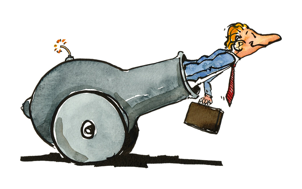 Man in cannon illustration