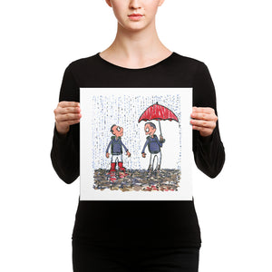 The Boots vs Umbrella illustration Canvas print