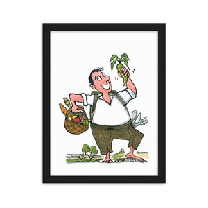 Man eating vegetables illustration framed art print