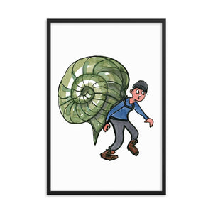 The Snail Hiker illustration Framed art print