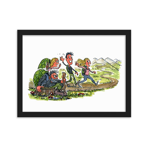 Meeting yourself on the trail illustration framed art print