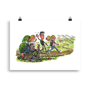 Meeting yourself on the trail illustration Art Print