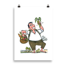 Load image into Gallery viewer, Man eating vegetables illustration Art Print