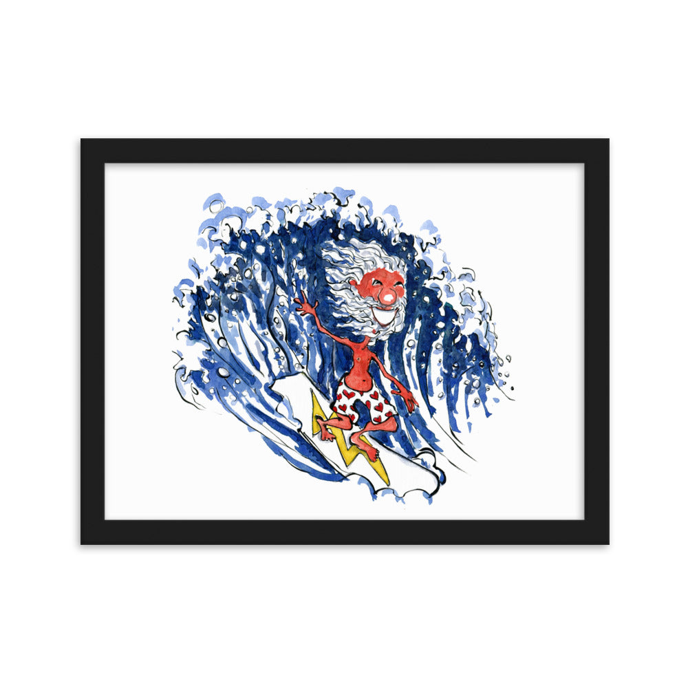 The Old Surfer illustration Framed art print