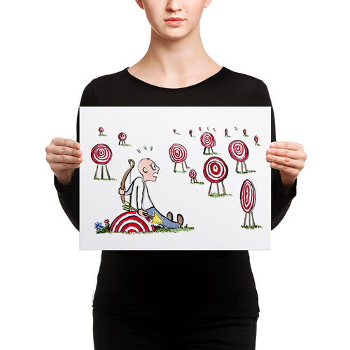 Arrow man looking at many targets Canvas print