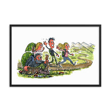 Load image into Gallery viewer, Meeting yourself on the trail illustration framed art print