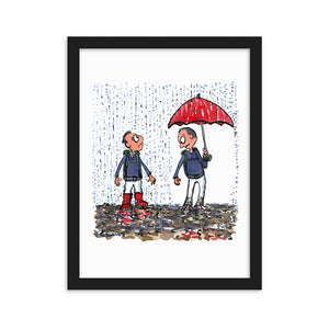 Boots vs umbrella illustration Framed Art print