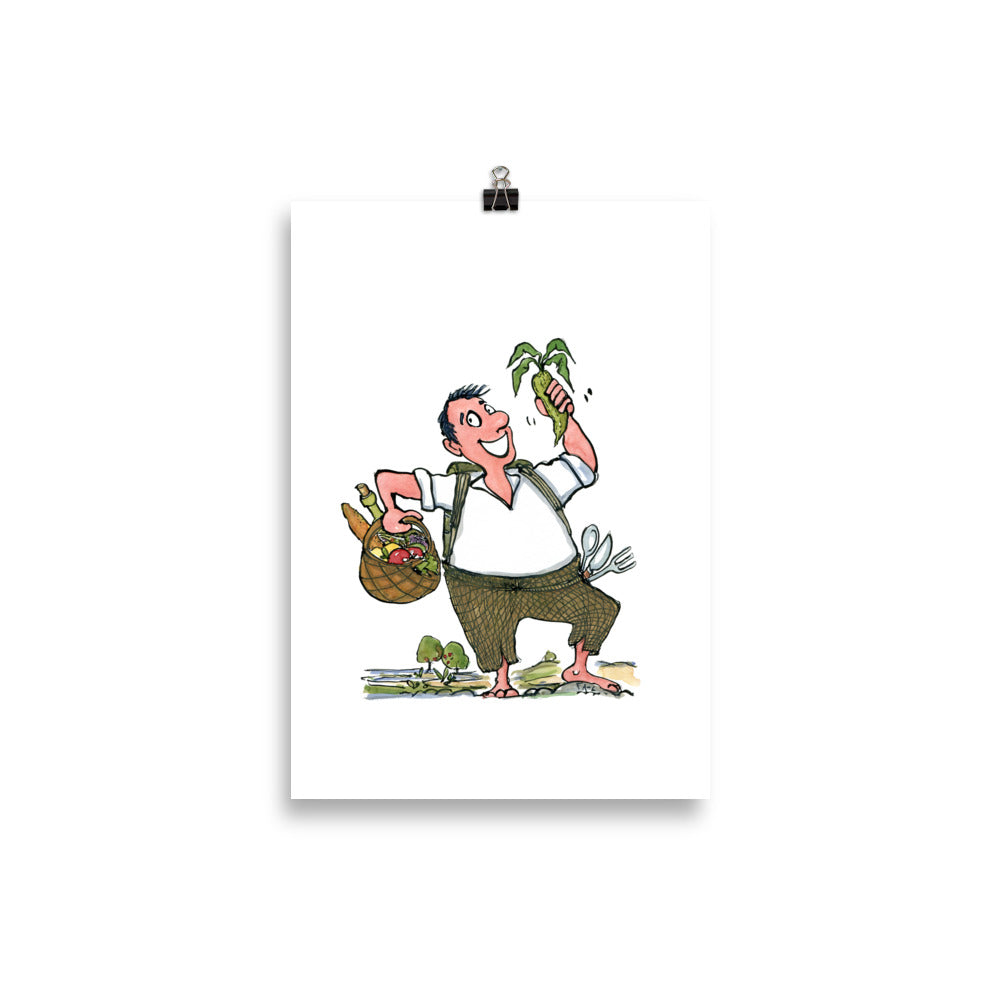 Man eating vegetables illustration Art Print