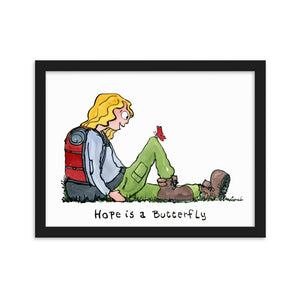 Hope is a butterfly illustration Framed Art print